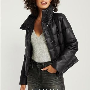 NWT Abercrombie faux leather mini puffer sold out